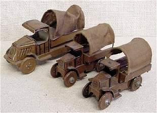 3 Vtg Tin Litho Marx Military Trucks