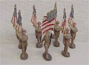7 Elastolin Flagbearer Toy Soldiers