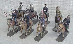 8 Elastolin Mounted Toy Soldiers