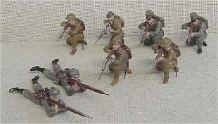 8 Assorted Elastolin Riflemen Soldiers