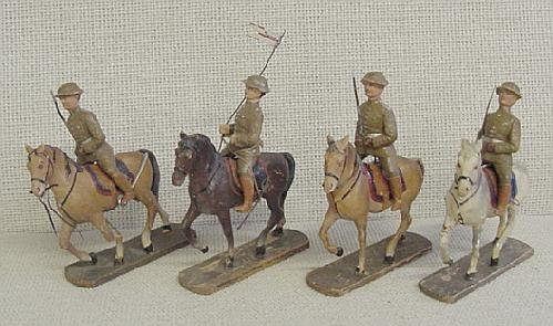 22: Lot of 4 Mounted Elastolin Soldiers