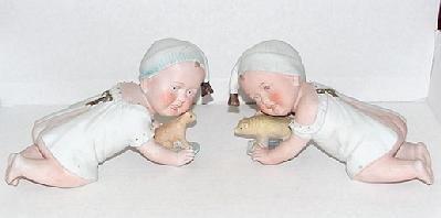 3001: PAIR OF GERMAN BISQUE PIANO BABIES