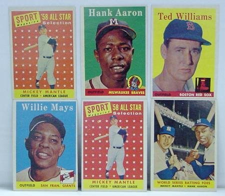 3043: TOPPS 1958. 6 HIGH GRADE CARDS