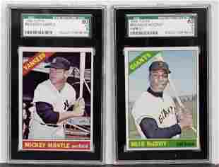 1966 TOPPS LOT OF 2 GRADED CARDS.
