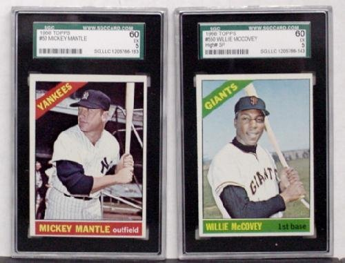 1020: 1966 TOPPS LOT OF 2 GRADED CARDS.