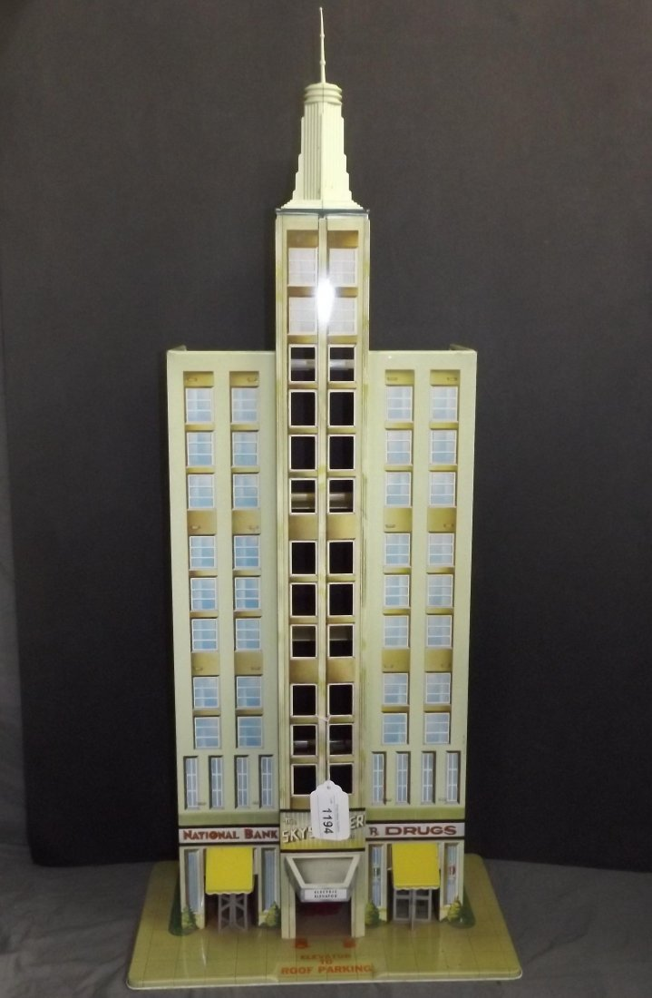 Tin Litho Marx Skyscraper Building with Elevator