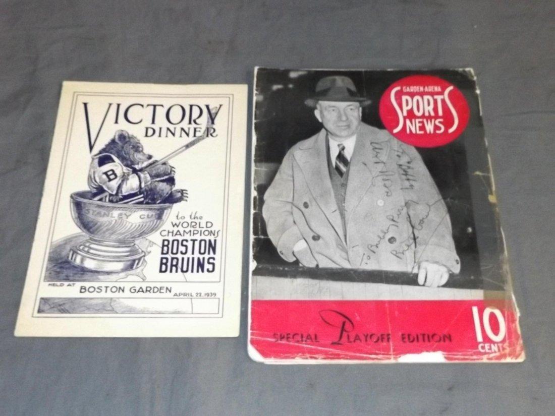 1939 Boston Bruins. Victory Dinner Program. Lot.