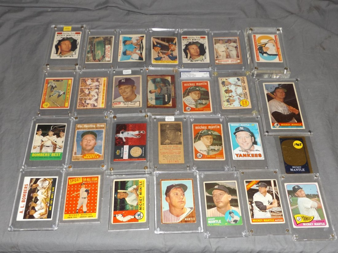Terrific Mickey Mantle Baseball Card Lot. 27 cards