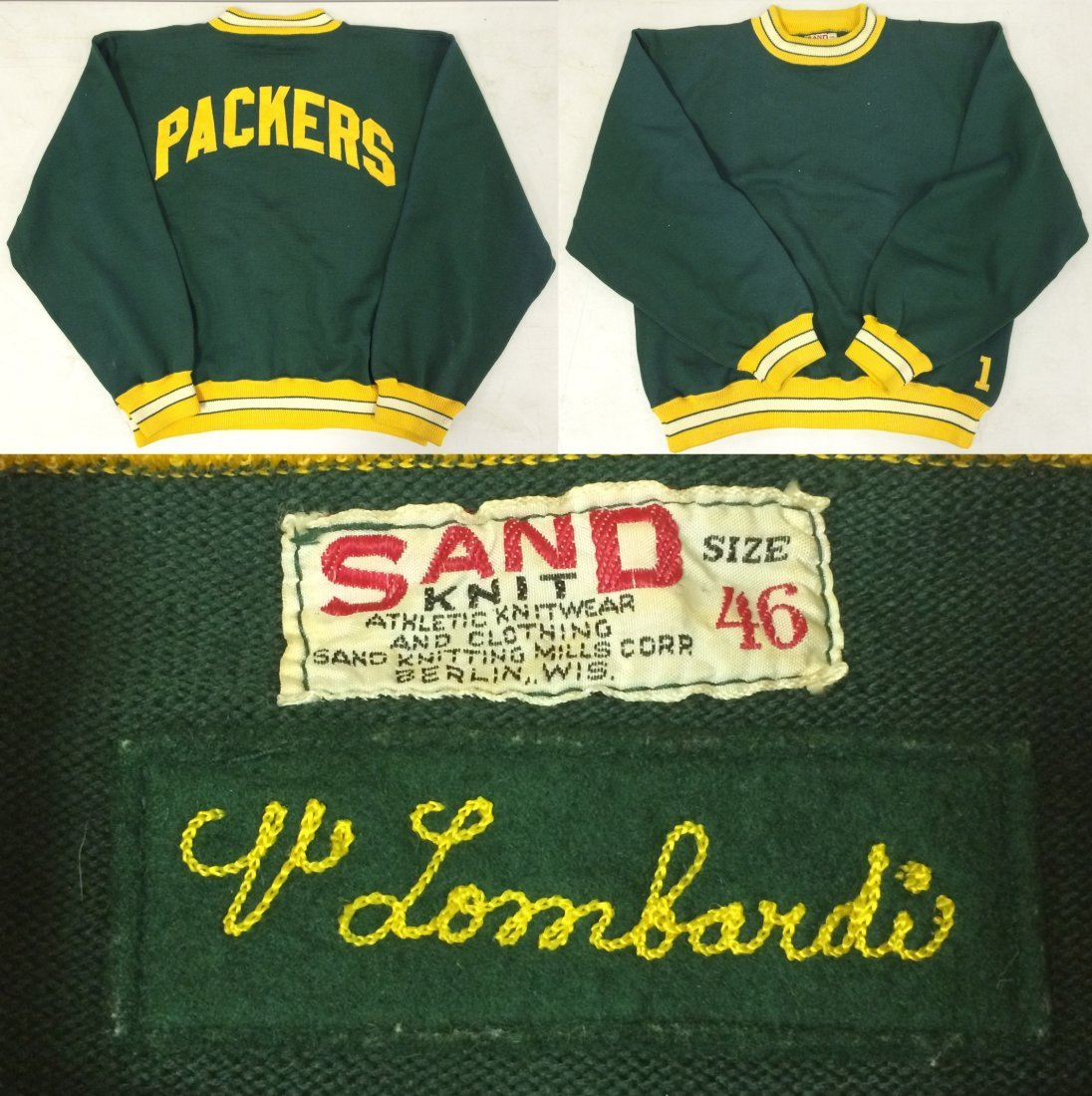 Vince Lombardi. Green Bay Packers Sweater.