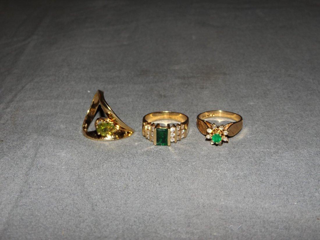 Lot of 3 Ladies 14k Gold Rings