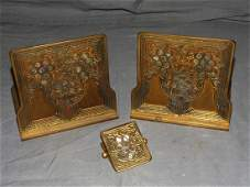 Tiffany Bronze and Abalone Book Ends.