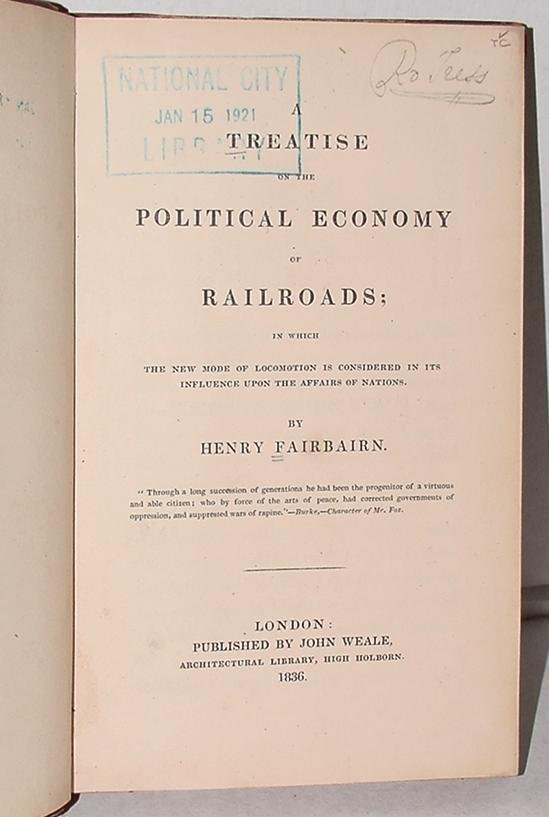 12: RAILROADS. SCARCE. FAIRBAIRN.