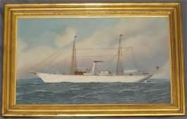 Antonio Jacobsen (1850 - 1921) Oil on Canvas.