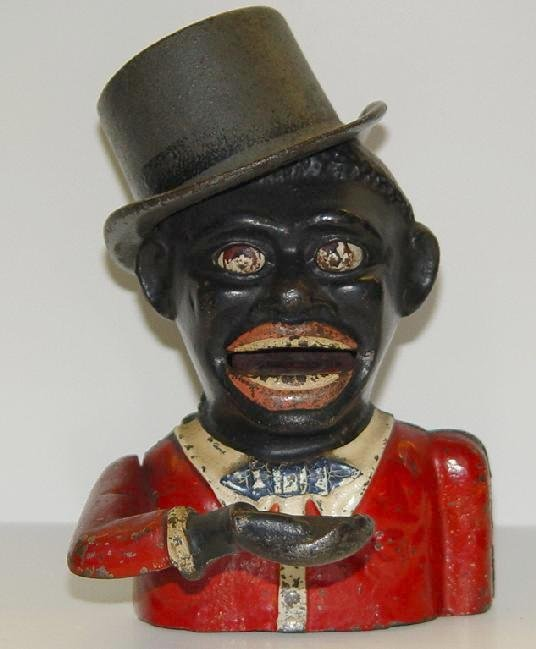 """3014: MECHANICAL BANK. JOLLY """"N"""" WITH TOP HAT."""