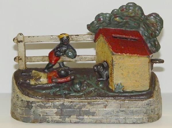 3017: MECHANICAL BANK.  BOY STEALING WATERMELONS.