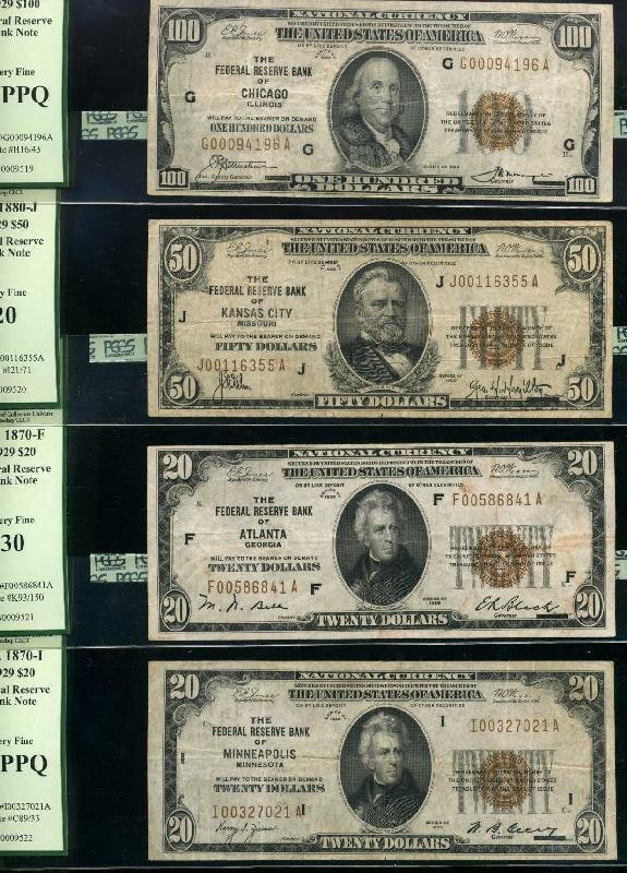 4011: CURRENCY. LOT OF 4. 1929.