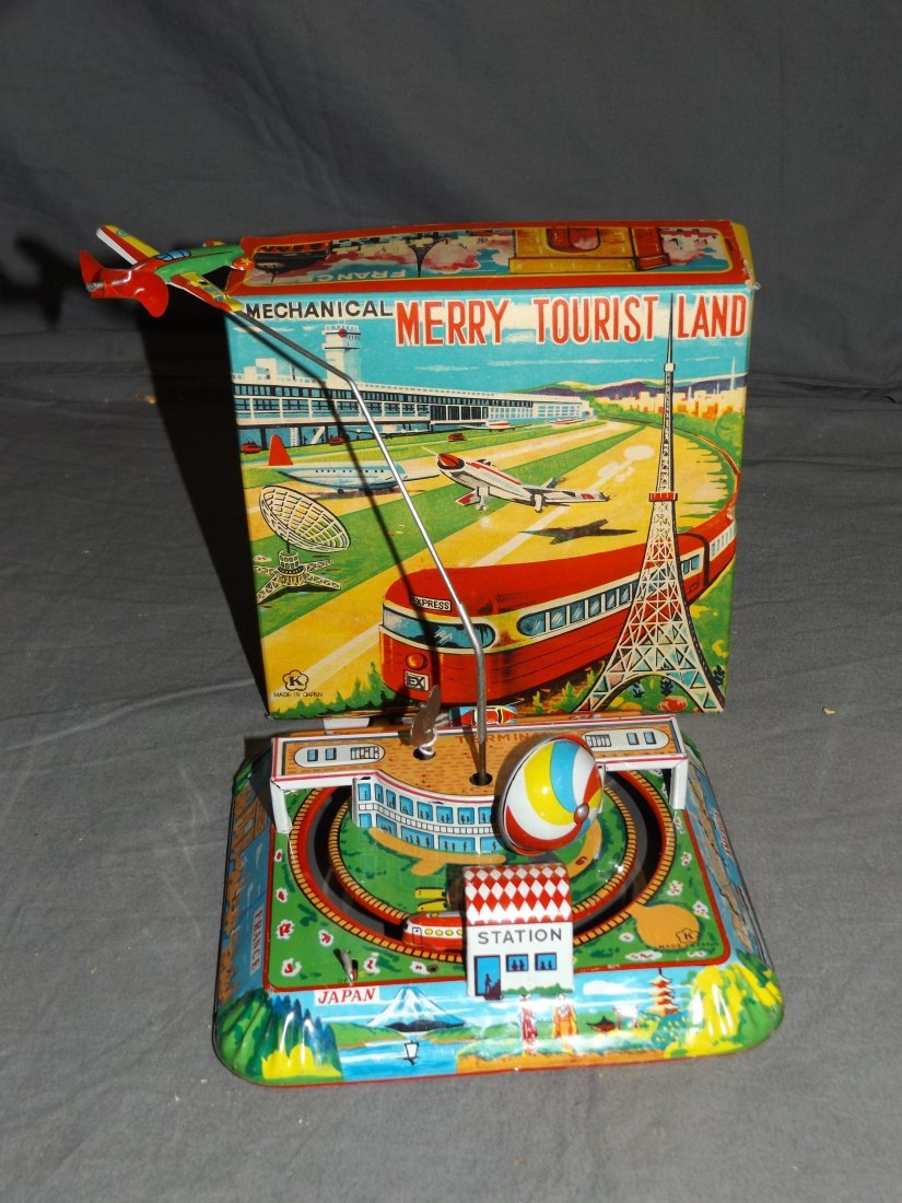 Boxed Tin Litho Mechanical Merry Tourist Land