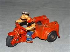 Hubley Popeye Spinach Patrol Motorcycle Toy.