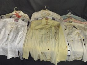 Chanel And Celine Silk Blouses. Lot Of 9.