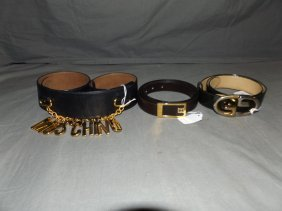 Mochino And Gucci Belts. Lot Of 3