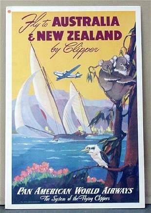 TRAVEL POSTER. AUSTRALIA & NEW ZEALAND