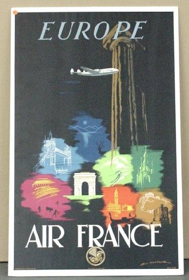 1017: TRAVEL POSTER, EUROPE, AIR FRANCE