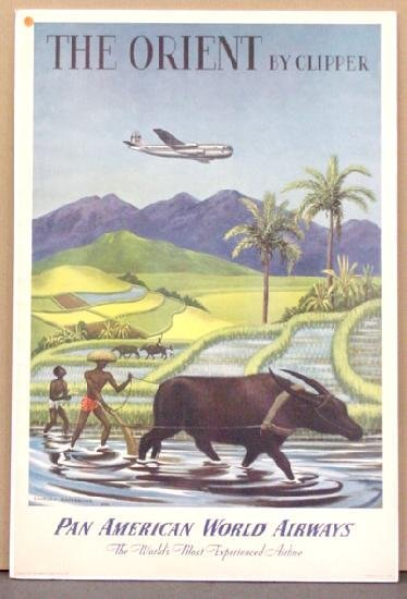 1019: TRAVEL POSTER, THE ORIENT BY CLIPPER
