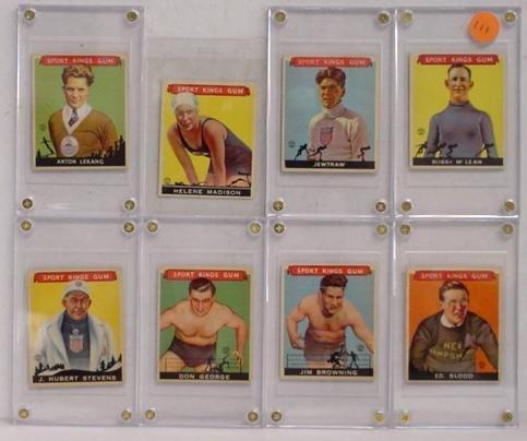 1111: 8 VARIOUS GOUDEY SPORT KINGS GUM CARDS