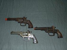 (3) Vintage Cast Iron Toy Cap Guns, Kenton/stevens
