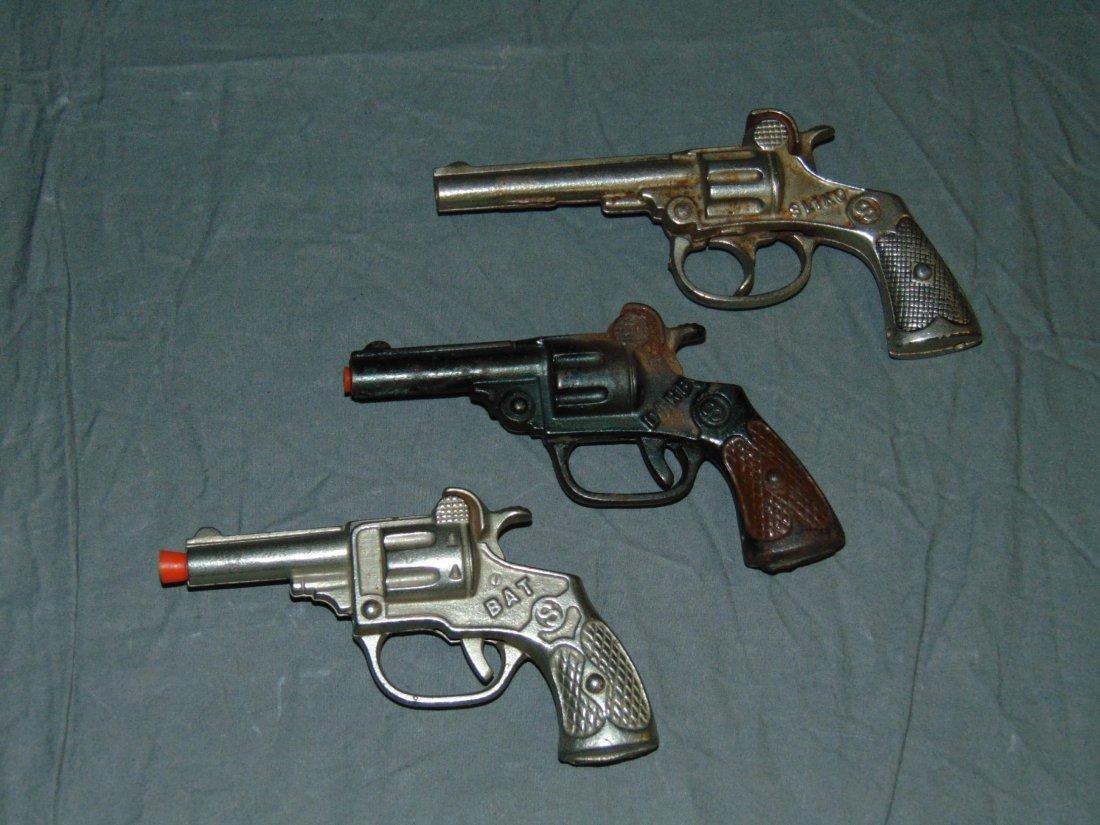 (3) Vintage Cast Iron Toy Cap Guns, Kenton