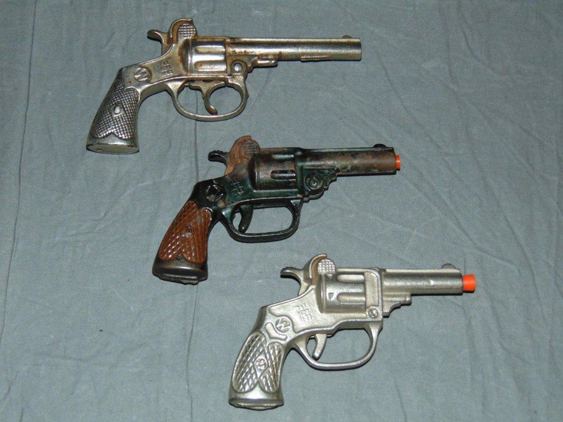 (3) Vintage Cast Iron Toy Cap Guns, Kenton - 2