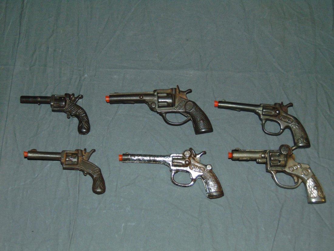 (6) Vintage Cast Iron Toy Cap Guns, Kenton/Stevens