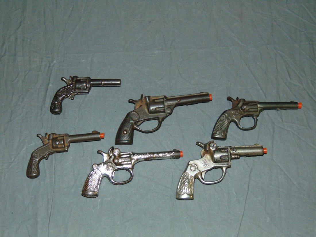 (6) Vintage Cast Iron Toy Cap Guns, Kenton/Stevens - 2