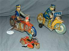 3 Tin Litho Windup Police Motorcycles, Marx