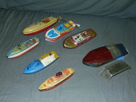 Lot Of Assorted Tin Litho Boats