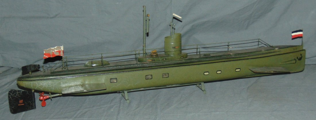 "Tin Clockwork Marklin Submarine, 31"" Long"