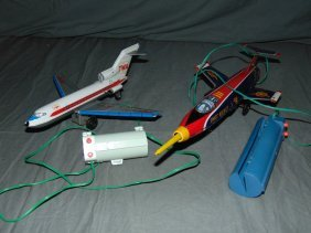 (2) Tin Litho Battery Op Remote Control Airplanes