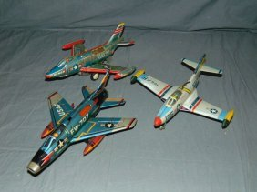 3 Tin Lithographed Yonezawa Friction Toy Airplanes