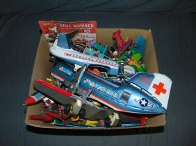 Balance Of Tin Litho Toy Airplane & Helicopters