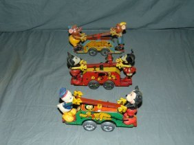 Lot Of Three British Disney Handcars.