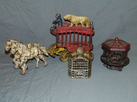 3 Piece Cast Iron Lot, Overland Circus And Banks