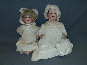 Lot Of 2 Large Bisque Head Baby Dolls