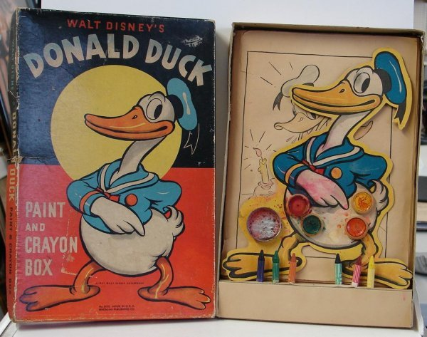 4011: RARE 1937 DONALD DUCK PAINT AND CRAYON BOX