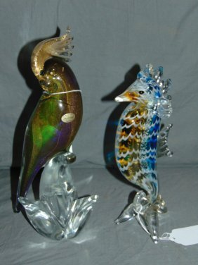 Lot Of 2 Murano Glass Figurines, Parrot / Seahorse