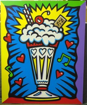 Burton Morris Oil On Canvas, Ice Cream Sundae