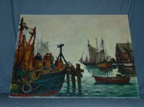 Robert Connavale, Oil On Canvas, Fishing Boats