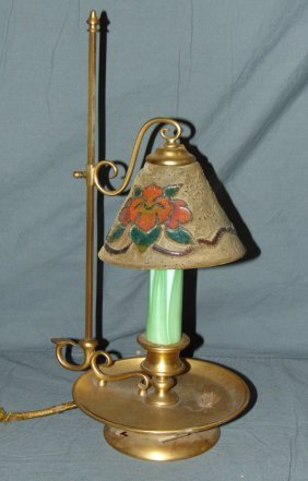 """Tiffany Furnaces Candlestick Lamp, 14 1/2"""" Tall"""