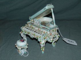 Porcelain Piano With Piano Stool
