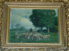 Charles T. Phelan. Oil on Canvas of Sheep