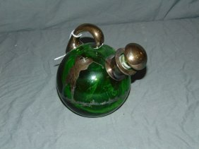Green Glass Decanter With Golf Silver Overay Motif
